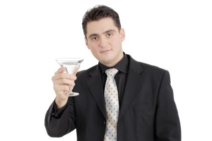 Man holding drink in hand