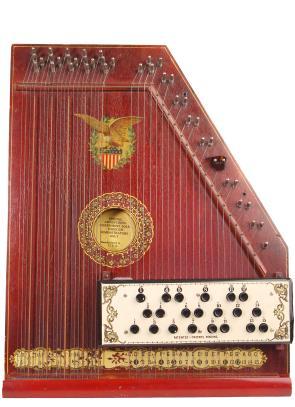 An antique mandolin harp