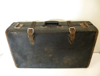 Vintage 1930s Black Leather Suitcase Luggage