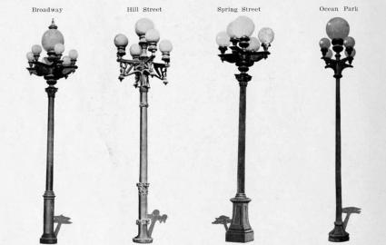 Four Types Of Streetlights Used In LA Ca.1909