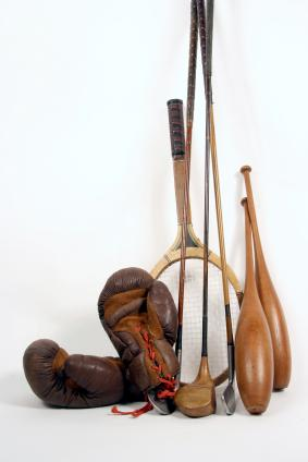 Collection of antique sports equipment.