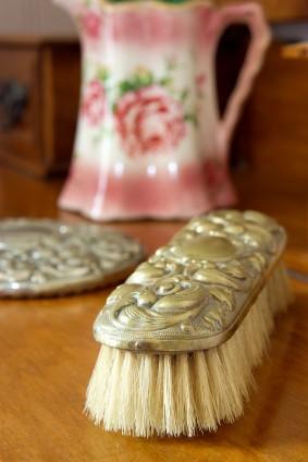 antique silver brush, dresser set
