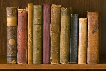 Antique books on shelf