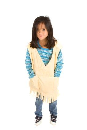 Girl wearing weighted sensory therapy vest.