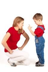 Mother disciplining child