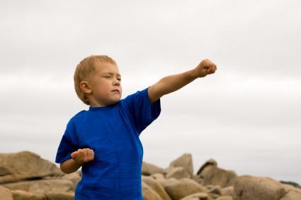 boy doing martial arts