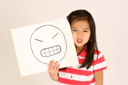 Angry face drawn by an autistic girl