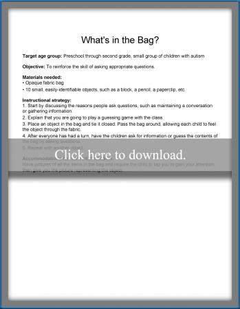 what's in the bag lesson plan