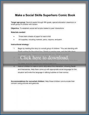social skills superhero comic book