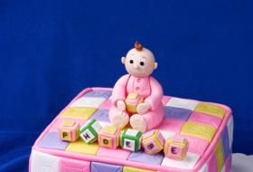 Baby block shower cake; Copyright Karen Ilagan at Dreamstime.com