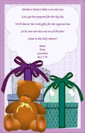 Gift baby shower invitation