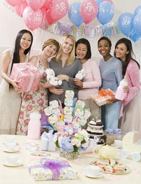 Baby shower women and decorations
