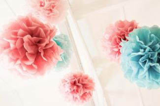 Pink and blue pom poms