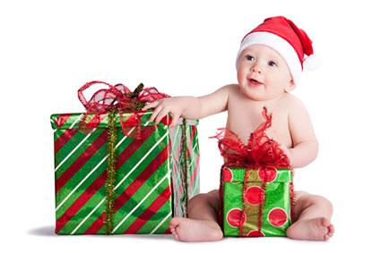 Christmas baby with presents