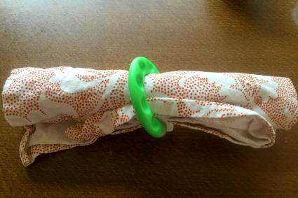 Baby teether napkin ring