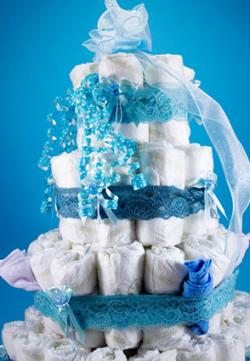 diaper cake with ribbons