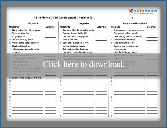 Printable Toddler Development Checklist