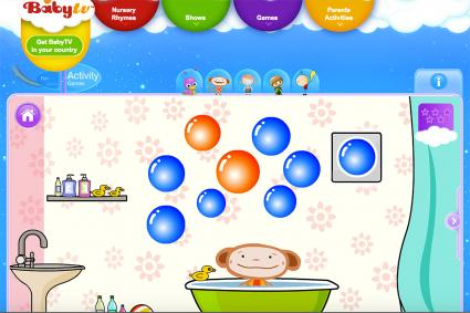 Screenshot of Oliver World: Colorful Bubbles at babytv.com