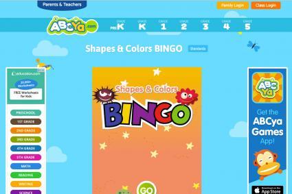 Screenshot of Shapes & Colors Bingo
