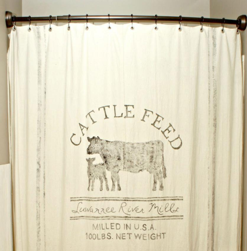 grain sack shower curtain