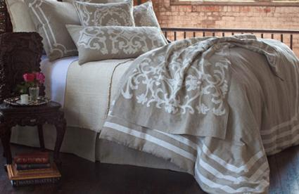 Angie natural linen with white detail