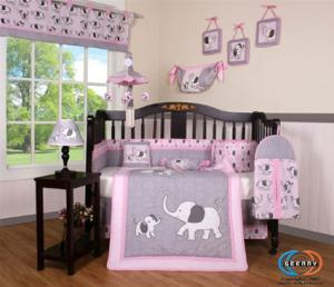 Boutique Pink Elephant Bedding Set