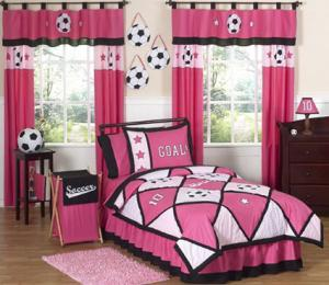 Girl's Soccer Bedding Twin Set