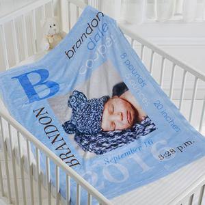 Baby boy personalized blanket photo