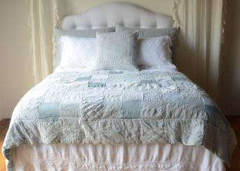 Homespun Coverlet with Crochet Lace Trim