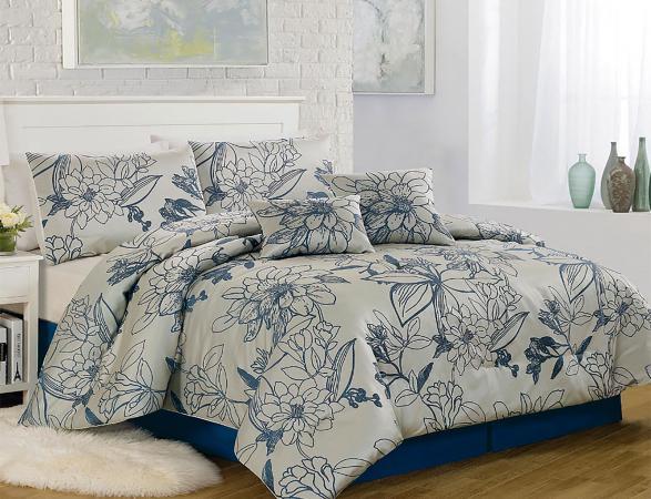 Textiles Plus Inc. Summerline 6 Piece Blue and Gray Comforter Set