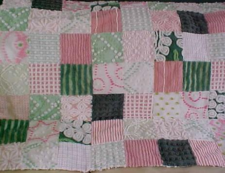 Pinks and Greens Chenille Quilt