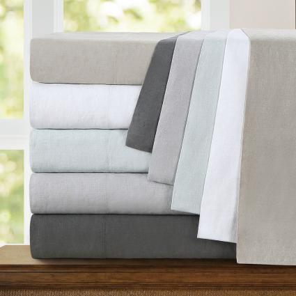 Echelon Home Washed Belgian Linen Sheet Set