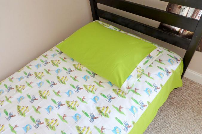 Bed Set Made From Curious George Fabric