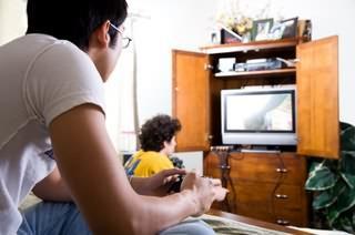 Guys playing video games