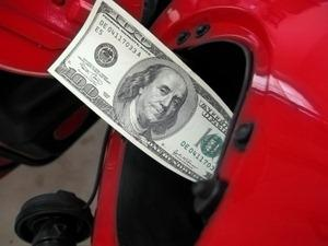 Hundred-dollar bill in gas tank