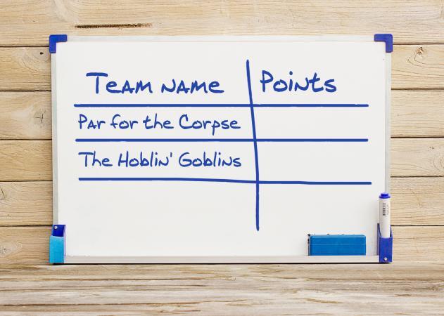 halloween team names on white board