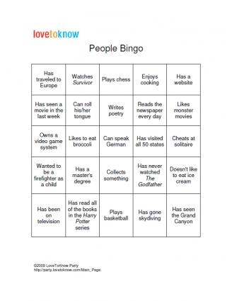 Click to download and print People Bingo Cards