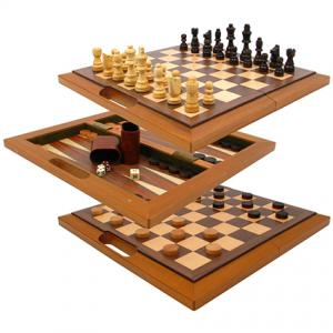 Deluxe Wooden Chess Checker & Backgammon Set
