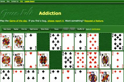 Screenshot of Green Felt Addiction web page