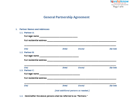 Free General Partnership Agreement Forms