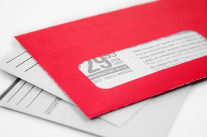 Using a bright colored envelope can get attention.