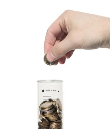 Hand saving coins