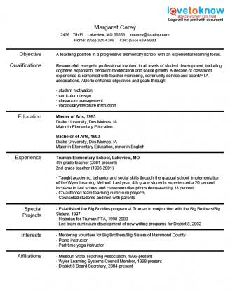 Resume For New Teachers Experienced Teacher Resume