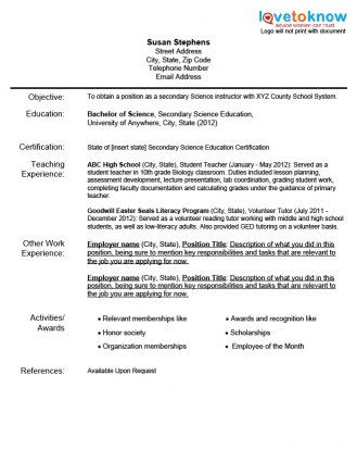 Resumes For New Teachers Resume Example for a New Teacher