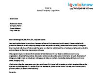 employee character reference letter template