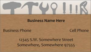 Handyman Business Card Samples