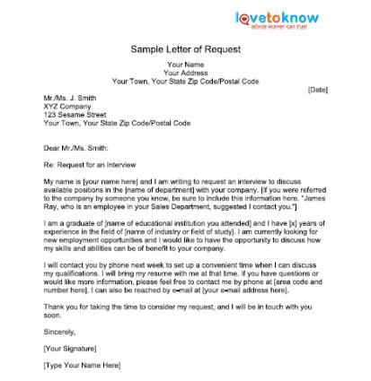 Letter Of Request – Example Letter Requesting Something