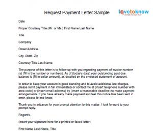 Download the request payment letter