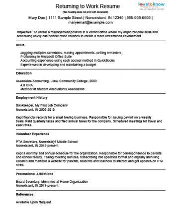 sample resume for housewife returning to work example resume for a homemaker returning to work