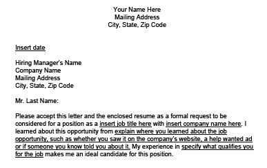 sample cover letter